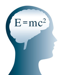 Einstein formula in brain shape and silhouette of a head. E=mc2 in physics is the formula for mass energy equivalence. Anything that have mass has an equivalent amount of energy and vice versa. Vector