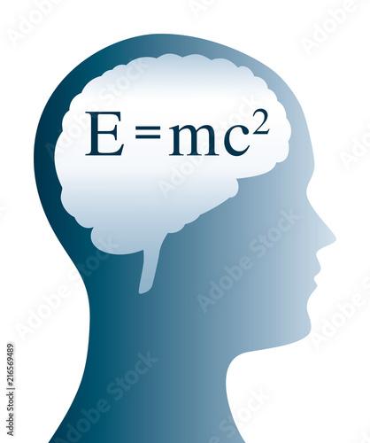Einstein Formula In Brain Shape And Silhouette Of A Head Emc2 In