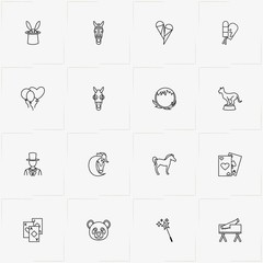 Circus line icon set with panther, fire circle and game cards