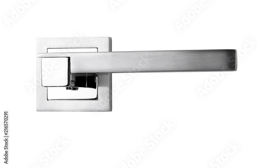 Door Handles Modern Silver On A White Background In Close Up