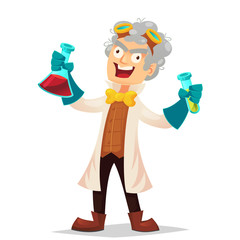 Mad professor in lab coat and rubber gloves holding flasks, cartoon vector illustration isolated on white background. Crazy laughing funny cartoon white-haired scientist, stereotype of scientist.