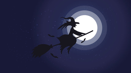 Halloween night background picture with flying witch and bats., Vector elements for banner, greeting card halloween celebration, halloween party poster.