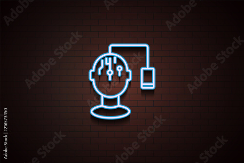 mobile brain monitoring icon in Neon style