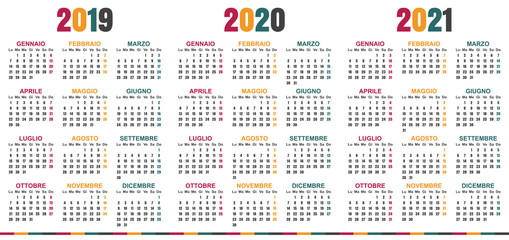 Italian planning calendar 2019 - 2021, week starts on Monday, simple calendar template for 2019, 2020 and 2021, printable calendar templates, vector illustration