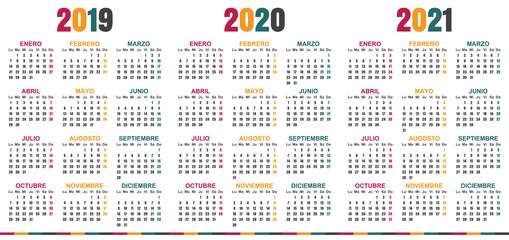 Spanish planning calendar 2019 - 2021, week starts on Monday, simple calendar template for 2019, 2020 and 2021, printable calendar templates, vector illustration