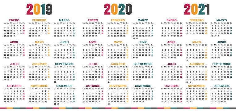 Spanish planning calendar 2019 - 2021, week starts on Monday, simple calendar template for 2019, 2020 and 2021, printable calendar templates, vector illustration