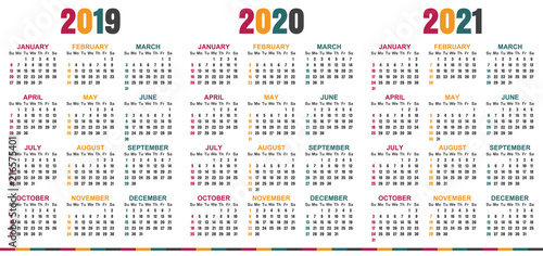 English Planning Calendar 2019 2021 Week Starts On Sunday Simple