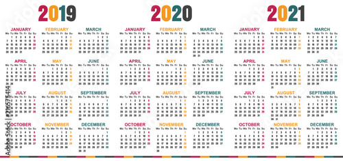 English Planning Calendar 2019 2021 Week Starts On Monday Simple
