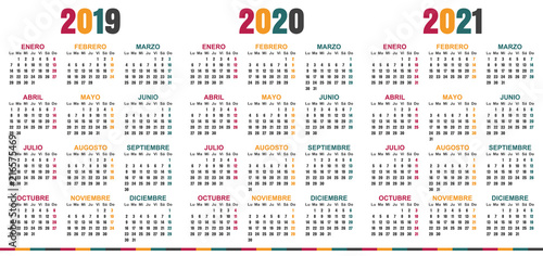 Spanish Planning Calendar 2019 2021 Week Starts On Monday Simple