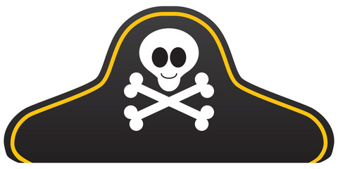A cartoon pirate hat with a smiling skull and crossbones