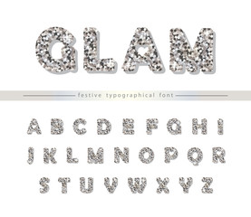 Silver glitter font isolated on white. Modern decorative alphabet for holiday design.