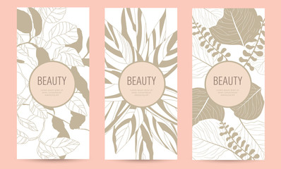 A set of packaging templates with gold floral texture for luxury products. Design template of leaflet cover, flayer, card for the hotel, beauty salon, spa, restaurant, club. Vector illustration
