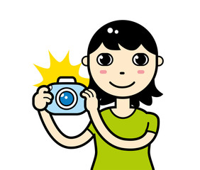 Girl or young woman with a flashing camera taking photos. Vector illustration isolated.