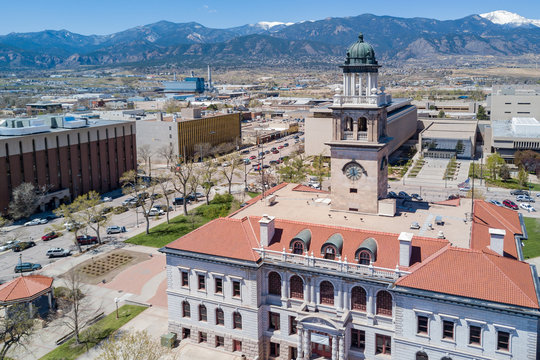 Aerial view of the Colorado Springs Pioneers Museum