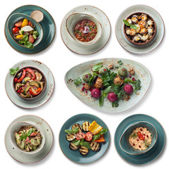 8 vegetarian dishes: salad with ricotta, lobio, baked champignons, roasted vegetables, pkhali cuts,  fresh salad with hazelnuts, grilled vegetables, vegetable mass with pomegranate, isolated on white