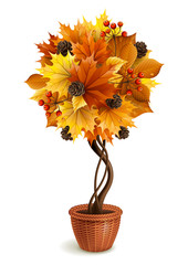 Vector illustration - autumn decorative tree in the pot, isolated on white. EPS 10