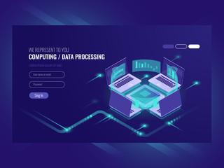 Big data processing and calculating process, server room, web hosting vps server room, database isometric vector dark
