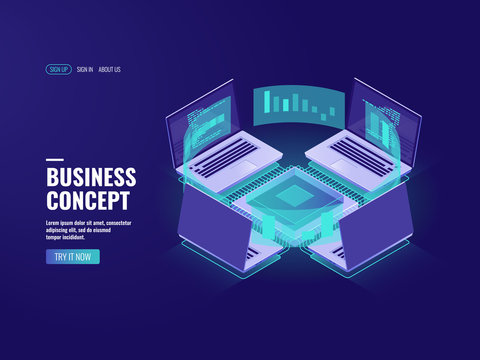 Big data processing, data visualization icon, datacenter and server room, internet network connection, information technology in business, report isometric vector illustration dark neon
