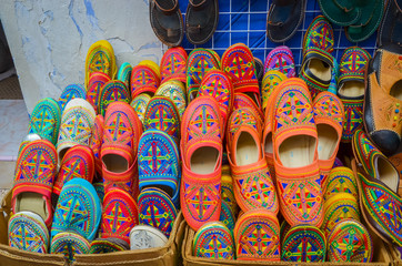 Colorful moroccan handmade leather shoes in city Chefchaouen,  Morocco, Africa.