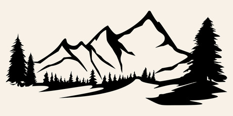 Mountains vector.Mountain range silhouette isolated vector illustration