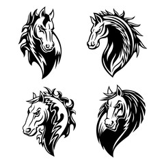 Horse or mustang animal icons. Tattoo and mascot