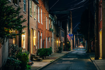 Wall Mural - Row houses on Bethel Street at night, in Fells Point, Baltimore, Maryland