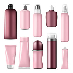 Cosmetic bottles and cream conteiners mock up