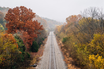 View of a railroad track along the James River, from the Blue Ridge Parkway in Virginia.