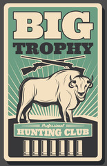 Hunting club retro banner with bison, hunter rifle