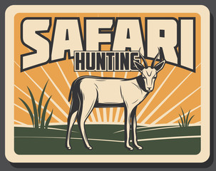 Safari hunting retro banner with african animal