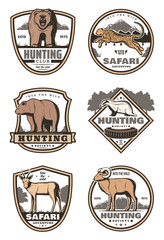 Hunting club retro badges with african animals