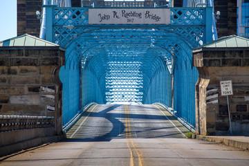 Blue Bridge Leaving the City