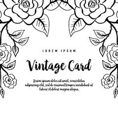 Vintage greeting card hand draw bloosom flower vector illustration