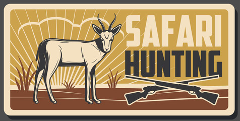 Safari hunting banner with african animal and gun