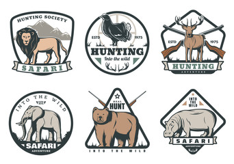 Wild animals and birds safari hunting retro badges