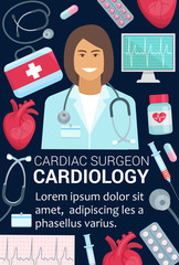 Cardiology surgeon doctor and heart medical poster