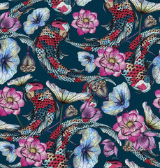 Seamless pattern with carp, and lotuses. Hand-drawn watercolor stock illustration with koi, and lotus flowers