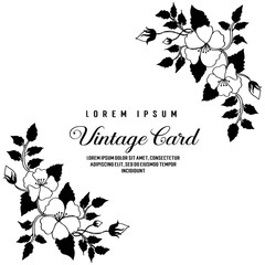 card with template text and flower hand draw vector illustration