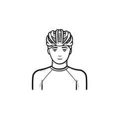 Man wearing bicycle helmet hand drawn outline doodle icon. Bicycle equipment, cyclist protection concept. Vector sketch illustration for print, web, mobile and infographics on white background.
