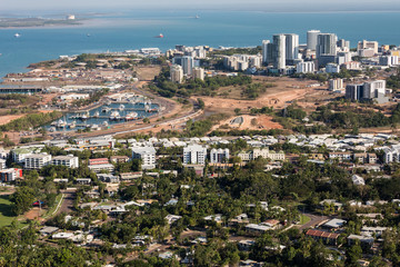 An aerial photo of Darwin, the capital city of the Northern Territory of Australia.