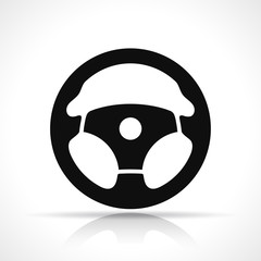 Vector steering wheel black icon