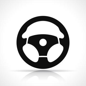 Vector steering wheel black icon