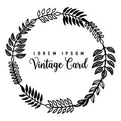 Floral frame vintage card design hand draw vector illustration