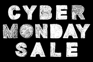 cyber monday sale bold text inscription lettering, handwritten white chalk letters isolated on black background, stock vector illustration