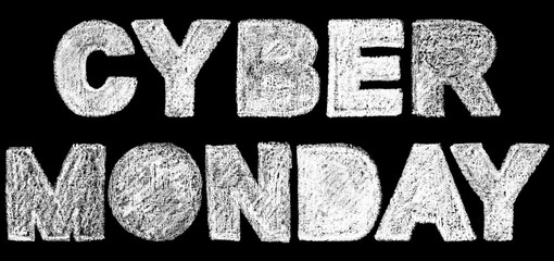 cyber monday bold text inscription lettering, handwritten white chalk letters isolated on black background, stock photo image