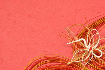 鶴の水引 和紙背景