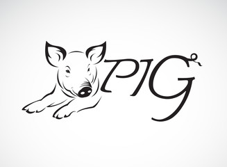 Vector design a pig is text on a white background. Farm animals. Easy editable layered vector illustration.