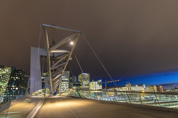 Oslo city skyline at Akrobaten pedestrian bridge and Barcode Project, Oslo Norway