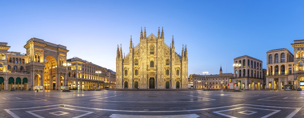 Milan panorama city skyline sunrise at Milano Duomo Cathedral, Milan Italy
