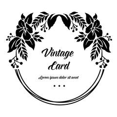 Vintage card with floral frame design vector illustration